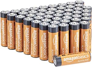 AmazonBasics 48-Count AA High-Performance Alkaline Batteries, 10-Year Shelf Life, Easy to Open Value Pack