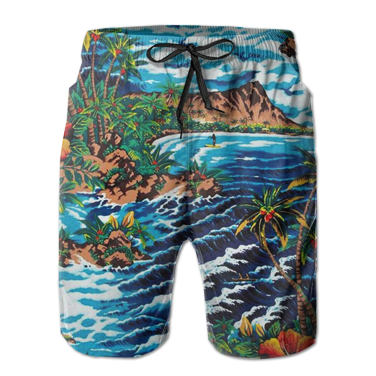 FASUWAVE Mens Swim Trunks Hawaii Watercolor Painting Quick Dry Beach Board Shorts with Mesh Lining