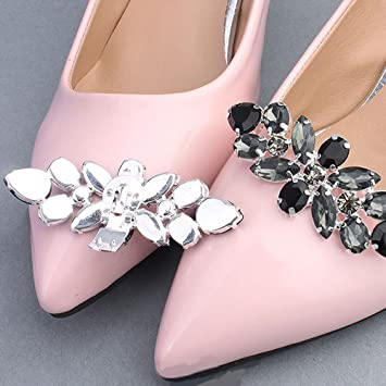 733faae9815b6d Kercisbeauty Wedding Bridal Bridesmaids Silver Black Gemstone Shoes Dress  Decoration Shoe Clips with Crystal Beads Woman