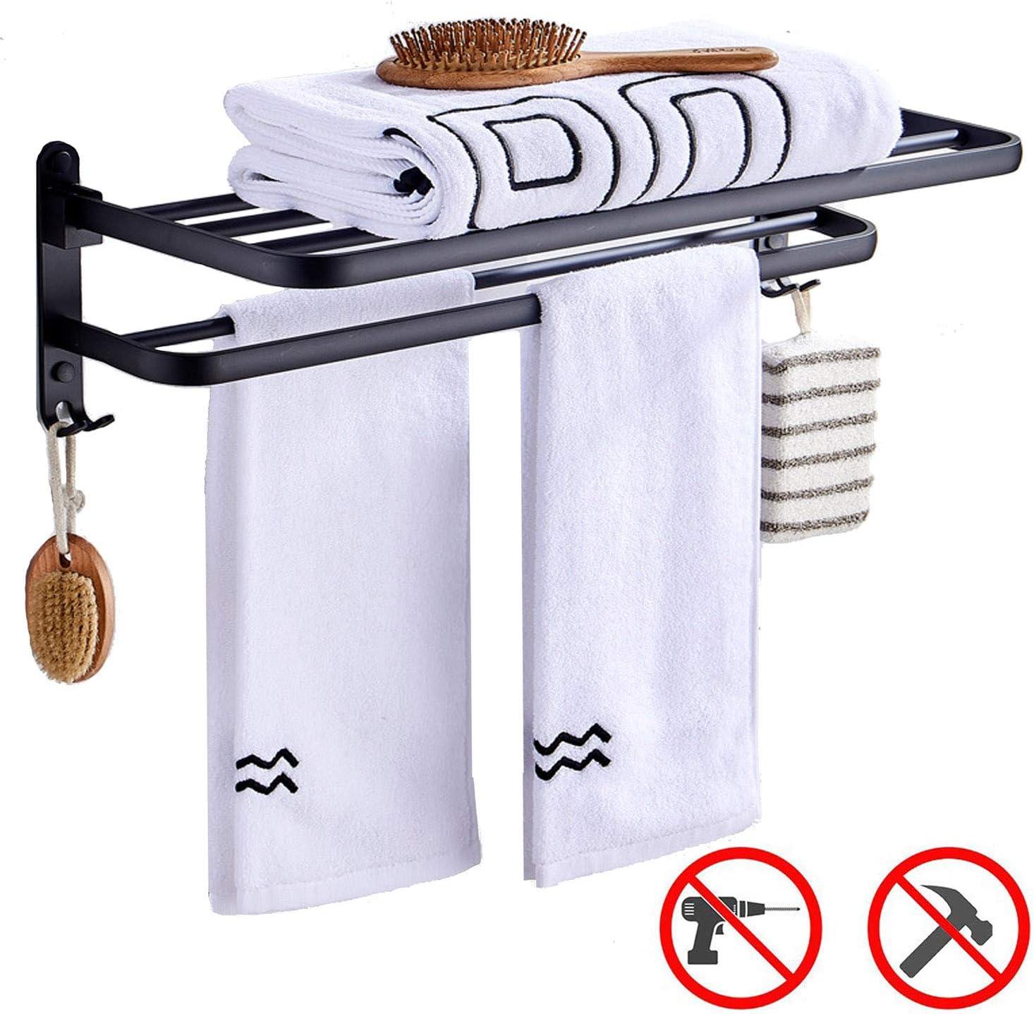 AltraTech タオルラック アルミ製 穴あけ不要 浴室棚 壁取り付け フック付き タオルバー 2段 クロムブラック仕上げ バスルーム用