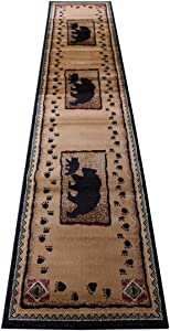 Cabin Lodge Long Runner Area Rug with Bear and Cub Image (2 Feet 4 Inch X 10 Feet 10 Inch) Runner