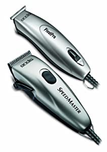 Andis 23965 Professional PivotPro And SpeedMaster Hair Clipper and Beard Trimmer PivotMotor Set, Silver
