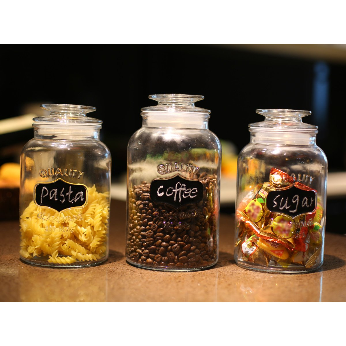 3 Sets Glass Canisters with Chalkboad Glass Storage Jar with Airtight Lid,Food Storage Containers,43/43/54-oz,6 Chalkboard Labels & Chalk Marker Included