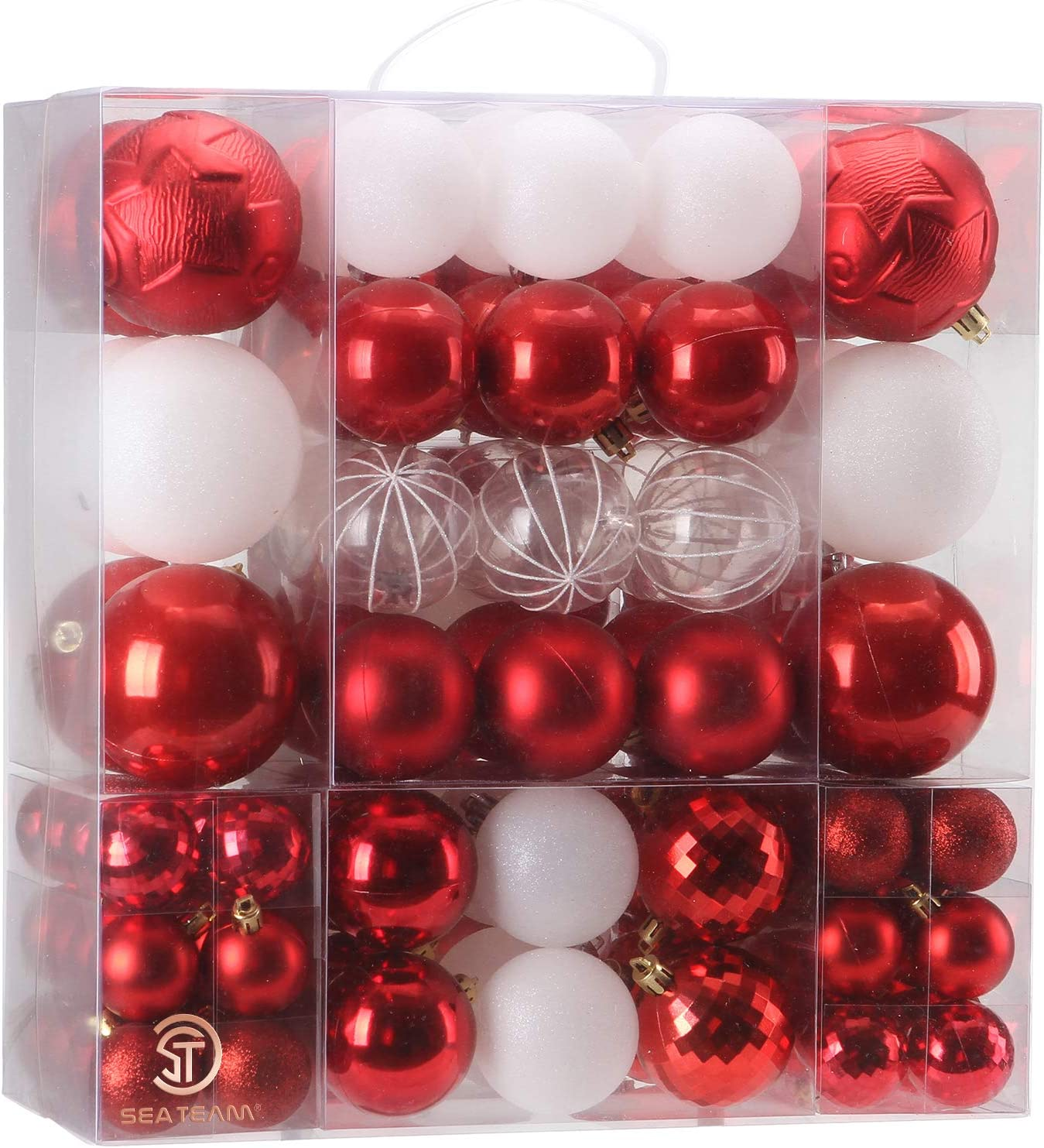 Sea Team 125 Pieces of Assorted Christmas Ball Ornaments Shatterproof Seasonal Decorative Hanging Baubles Set with Reusable Hand-held Gift Package for Holiday Xmas Tree Decorations, Red