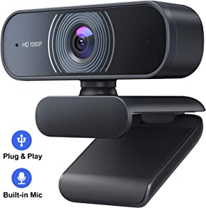 Webcam with Microphone, Crosstour 1080P HD Webcam Streaming Computer Web Camera - USB Computer Camera for PC Laptop Desktop Video Calling, Conference