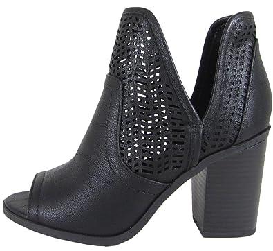 dcab4db53c69 SODA Women s Laser Cut Side V Cutout Open Toe Stacked Chunky Heel Bootie  (5.5 B