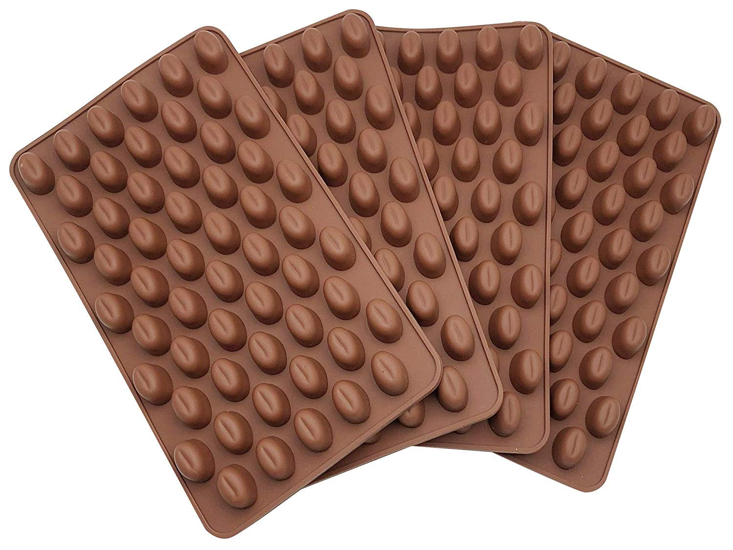 AxeSickle 4PCS Mini Coffee Beans Chocolate Mold Silicon Mold Small Candy Mold, Hard Candy Mold, Baking Mold DIY Cake Decorating.