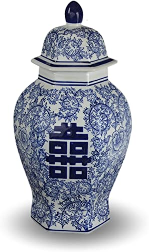 Festcool 14 Classic Blue and White Porcelain Floral Temple Ginger Jar Vase, China Ming Style, Jingdezhen, Double Happiness