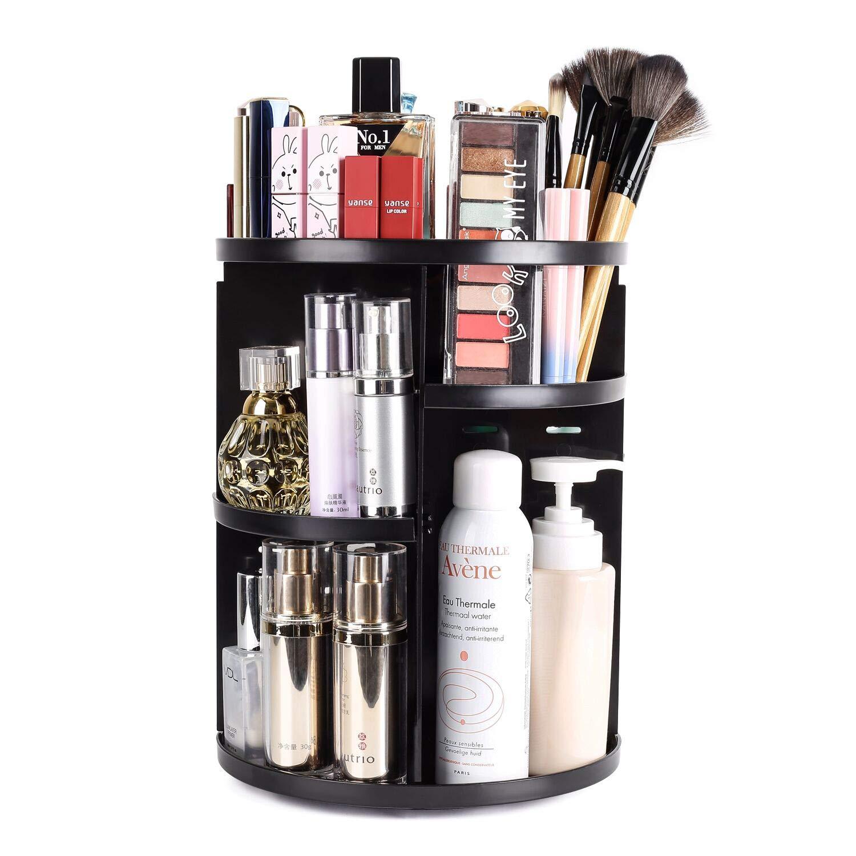 sanipoe 360 Rotating Makeup Organizer, DIY Adjustable Makeup Carousel Spinning Holder Storage Rack, Large Capacity Make up Caddy Shelf Cosmetics Organizer Box, Great for Countertop, Black: Beauty