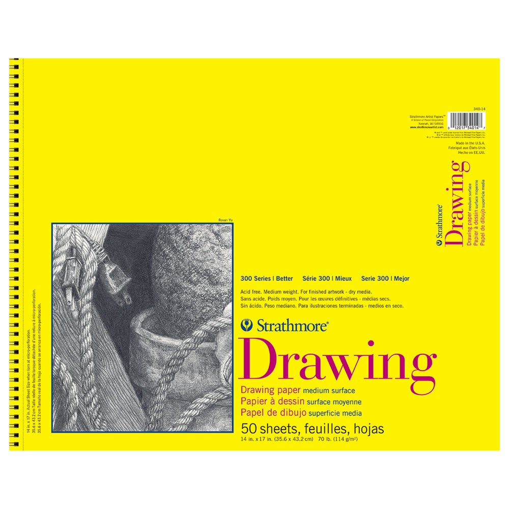 Strathmore 300 Series Drawing Pad, 14''x17'' Wire Bound, 50 Sheets