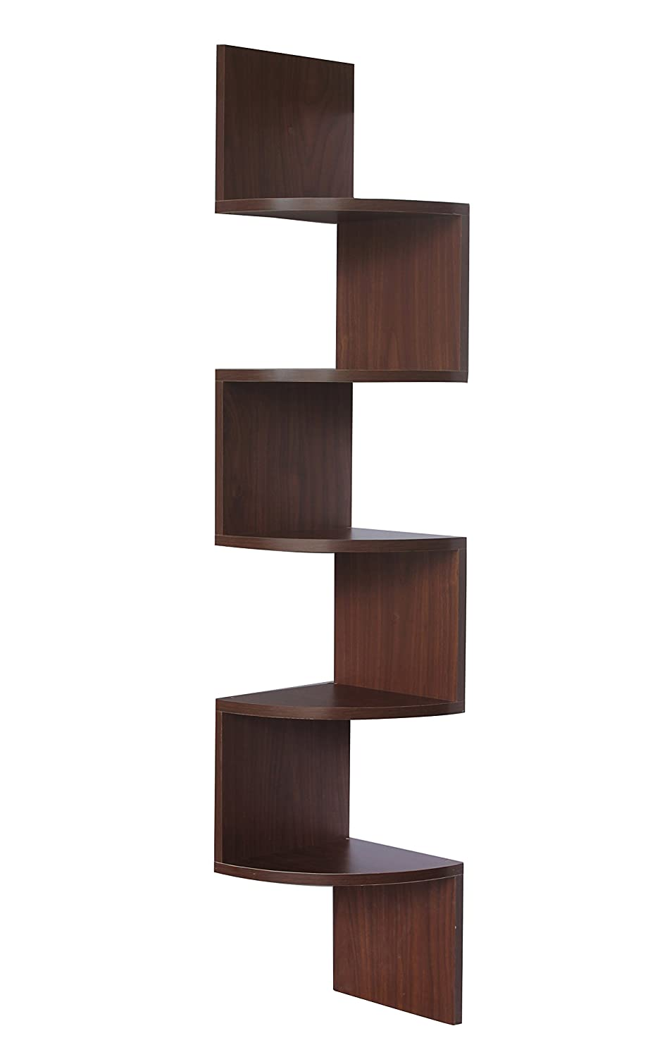 Storage wood floating media shelves design - Walnut Finish Corner Zig Zag Wall Shelf