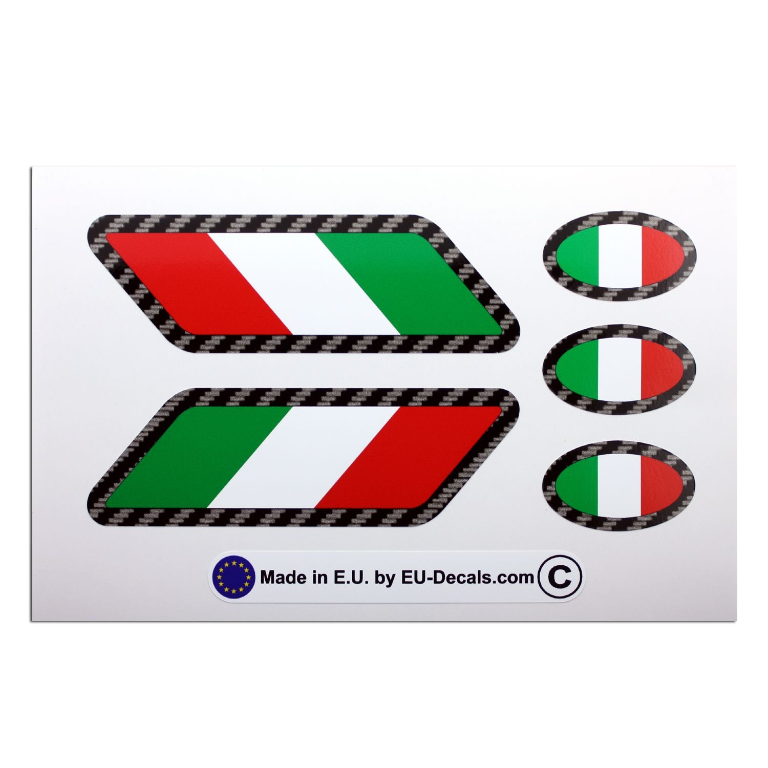 5X Italian Italy flags Carbon fiber outline Laminated Decal Sticker for helmet and bike MioVespa collection