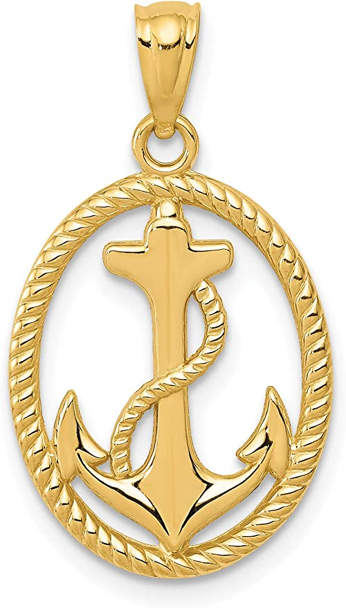 14K Yellow Gold Polished Anchor w//Rope Pendant