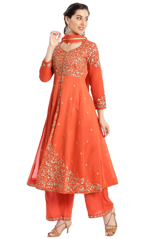 BIBA Women's Front Open Poly Cotton Suit Set 36 Orange by Biba (Image #2)