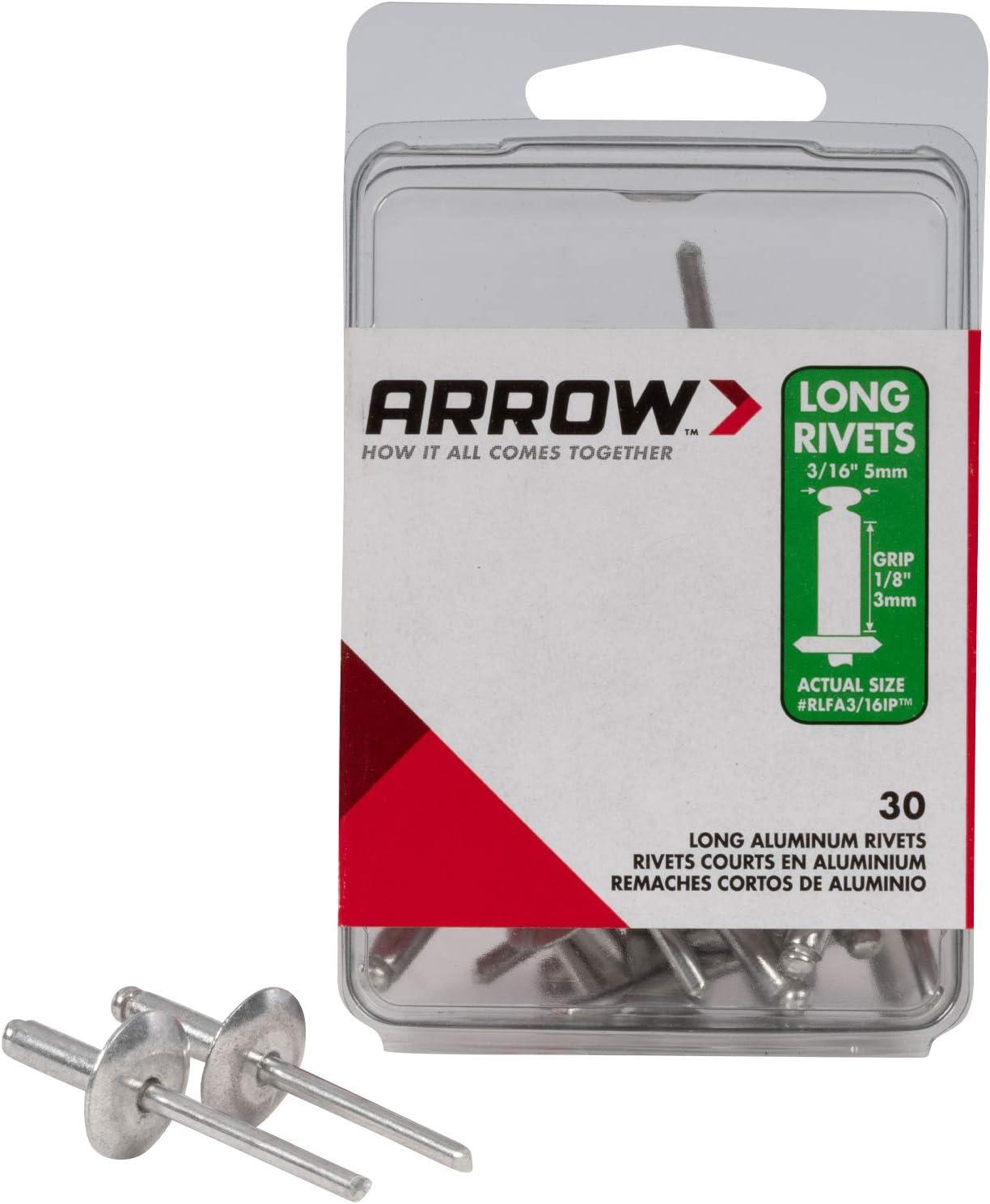 Arrow Fastener RLA3//16IP Long Aluminum 3//16-Inch Rivet New 50-Pack