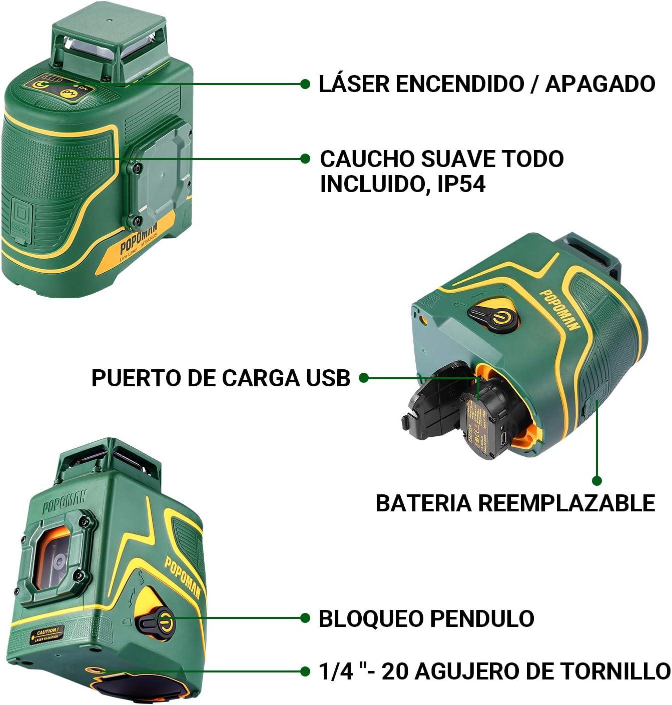 Modo pulsado externo Soporte Magn/ético Nivel l/áser 30m verde POPOMAN Carga USB y Bater/ía de litio 5 L/íneas y 360/° Giro Autonivelante IP54 MTM330B 1x360/° l/ínea l/áser Bolsa de transporte