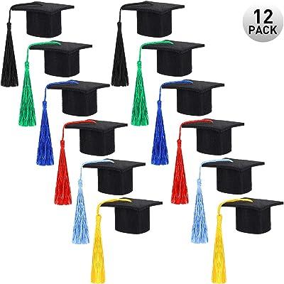 12 Pieces Mini Graduation Hat Black Felt Graduation Cap Hat Graduation Caps with Colorful Tassels for Graduation Party Drinker Bottle Topper Table Decoration: Toys & Games
