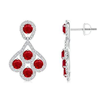 Angara Dangling Ruby Chandelier Earrings with Diamond Border