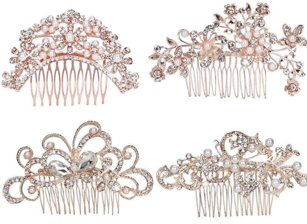 Pack of 4 Bridal Wedding Hair Comb Rose Gold Crystal Rhinestones Pearls Women Hair Side Combs Bridal Head Pin Headpiece (Rose Gold)