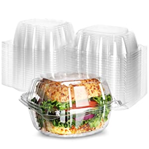 Clear Hinged Plastic Containers [100 Pack] 5 x 5 Clamshell Food Containers, Sandwich containers, Togo containers for Food, Plastic Cake Containers