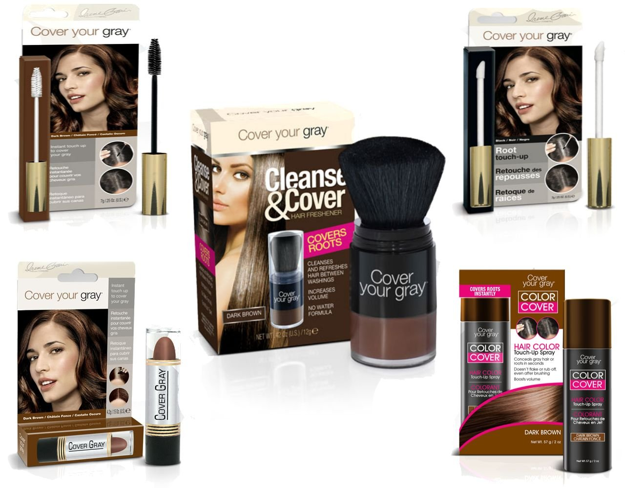 Cover Your Roots - Cover, Cleanse and Refresh: 5 Piece Gray Coverage Set, Dark Brown