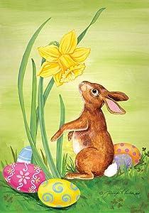 Toland Home Garden Bunny Daffodil 12.5 x 18 Inch Decorative Easter Rabbit Spring Flower Garden Flag