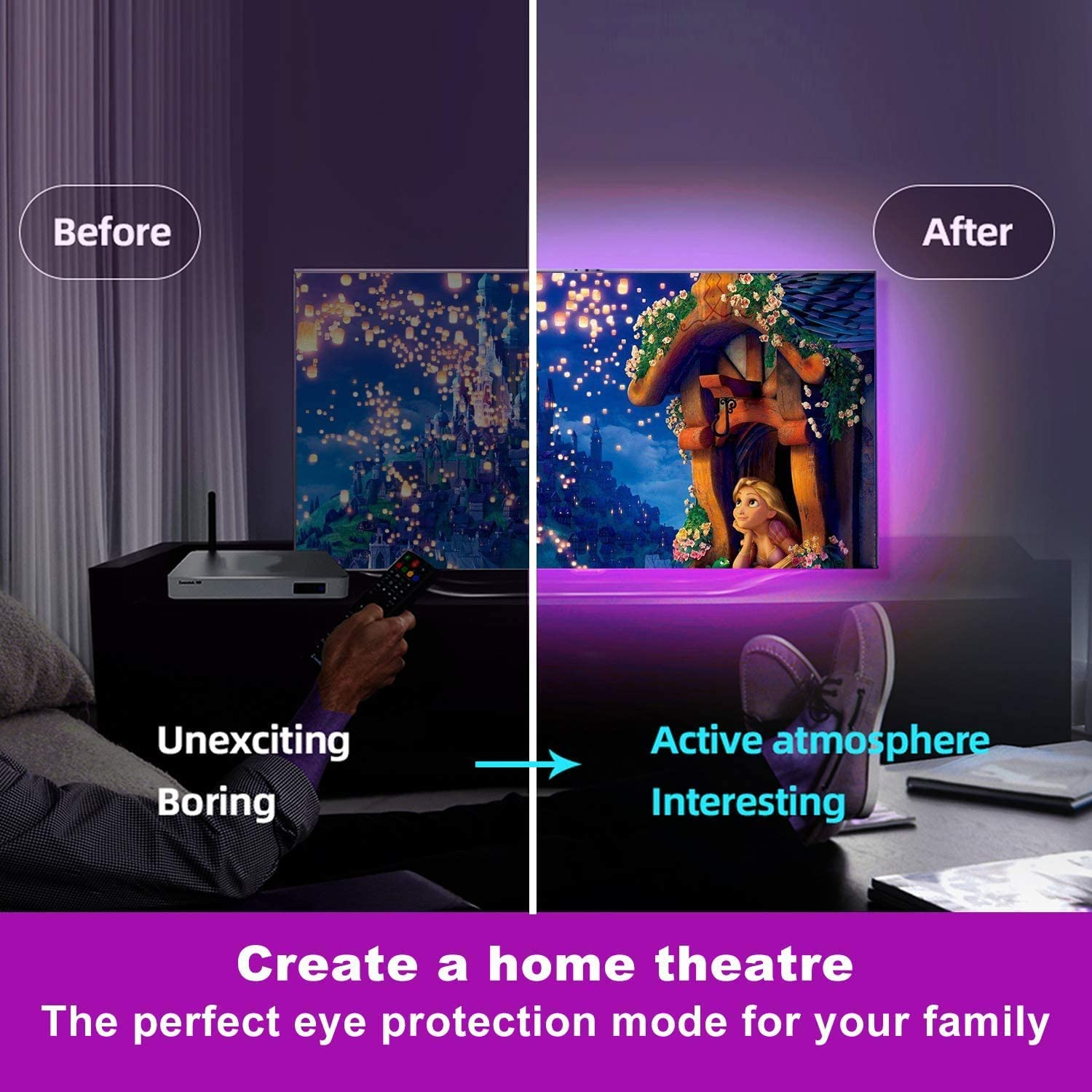 USB Mood Lights for Halloween Christmas Home TV Kitchen DIY Decoration LED Strip Lights StillCool 16.4ft Colour Changing Music Sync Backlight Lighting with Remote and Control Box