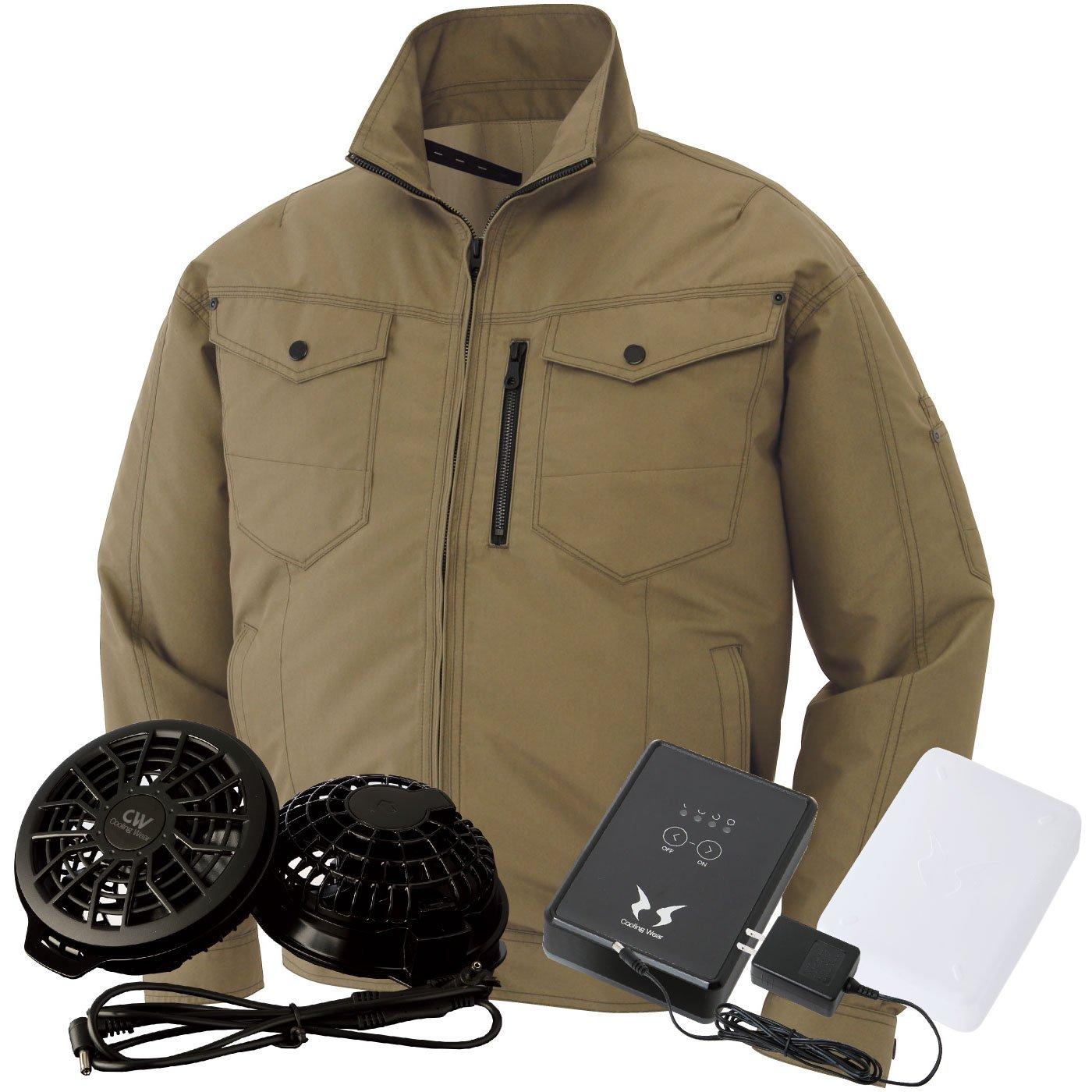サンエス(SUN-S) 空調風神服 (空調服+ファンRD9820R+バッテリーRD9870J) ss-ku95100-l B07BSNPNNR 5L|カーキ/黒ファン カーキ/黒ファン 5L