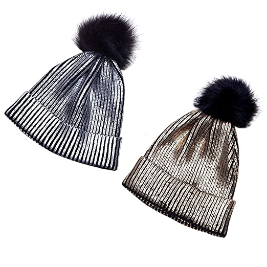 8c74ba5601b Doiber Women Girls Winter Warm Metallic Shiny Knitted Crochet Beanie Hat  with Pom Pom at Amazon Women s Clothing store