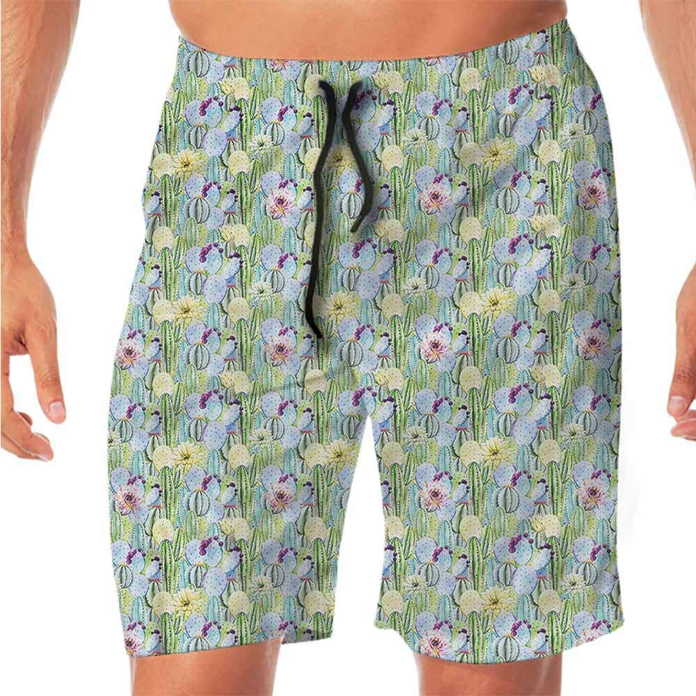 Quick-Dry Beach Boys Shorts Cactus,Cartoon Desert Flora Workout Shorts