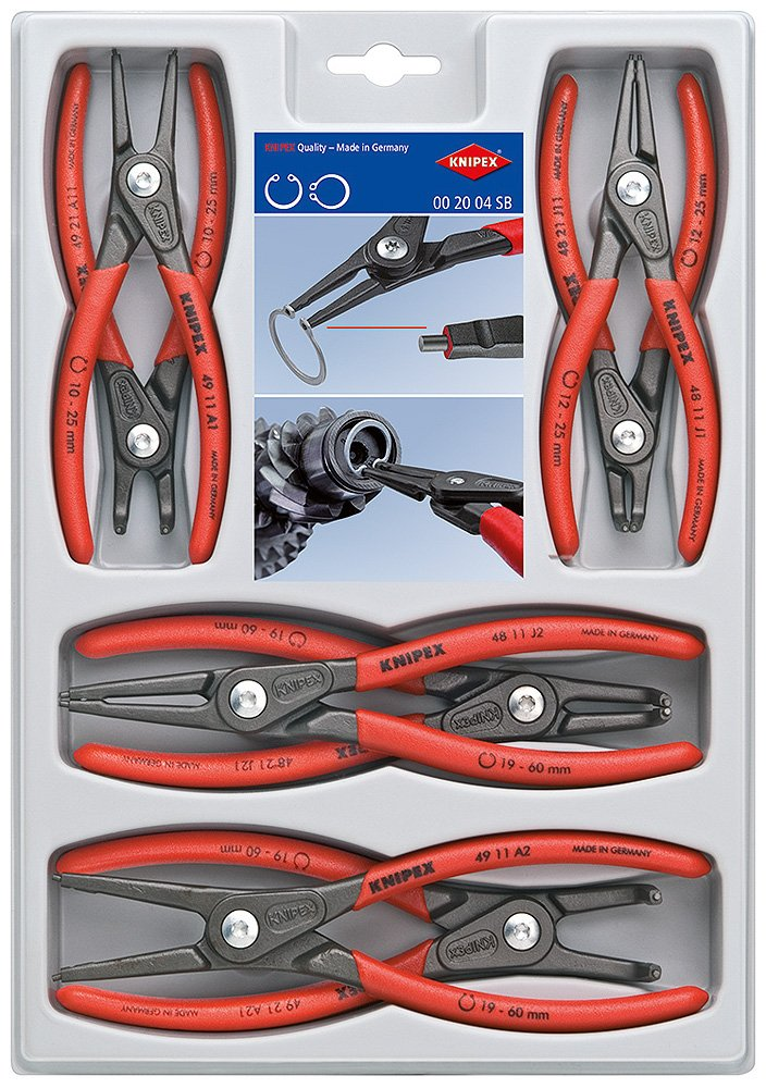 KNIPEX Tools 00 20 04 SB, Precision Circlip Snap-Ring Pliers 8-Piece Set by KNIPEX Tools