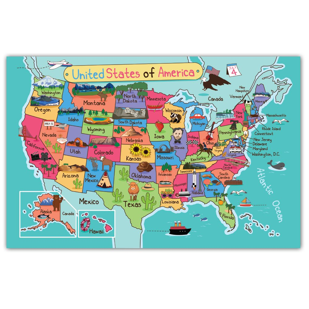 Note Card Cafe Paper Placemats - 48 count - 11'' x 17'' Educational Learning United States of America Map