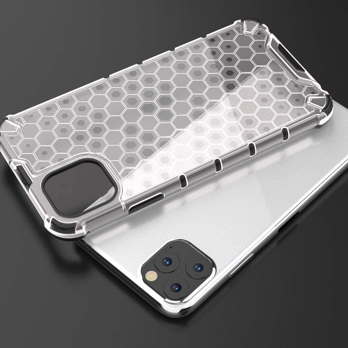 Pro /& Max Case Phone Cover TPU Fashion Hexagon Design 2-IN-1 Scratch Resistant Anti Slip Shockproof Protective Translucent Cover Multi-Colour HoneyComb iPhone 11
