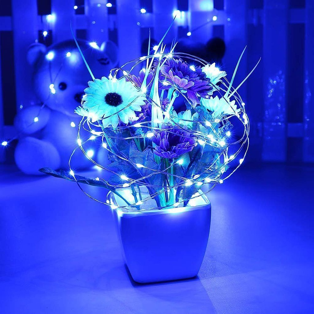 Solarmks 150 LED Bendable Copper Wired Solar Powered Waterproof Starry String Lights with 8 Modes, Blue