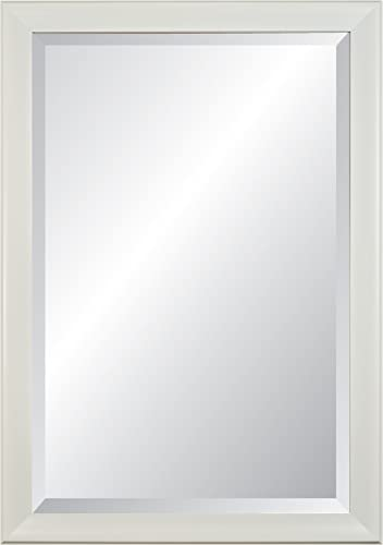 Alpine Art White Contour Framed Beveled Glass Wall Mirror