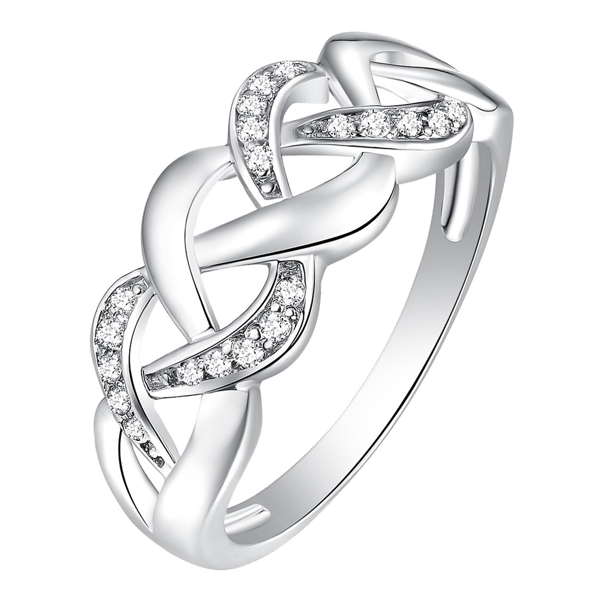 925 Sterling Silver Braided Weave Celtic Engagement Band Ring Size 7 (0.13 Ct., G-H Color, SI2-SI3 Clarity)