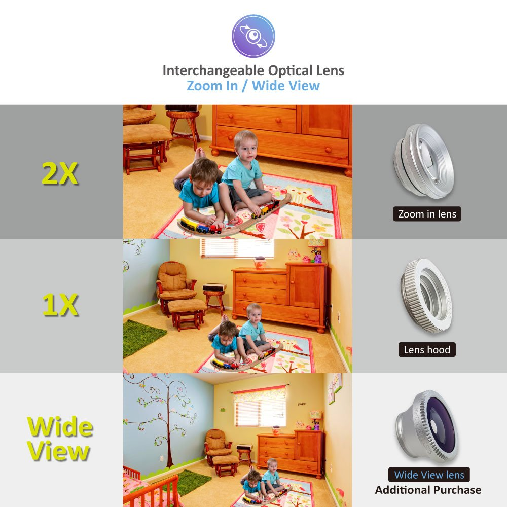 Video Baby Monitor 2 Cameras, Split Screen by Moonybaby, Pan Tilt Camera, 170 Degree Wide View Lens Included, 4.3 inches Large Monitor, Night Vision, Temperature, 2 Way Talk Back, Long Range by moonybaby (Image #6)