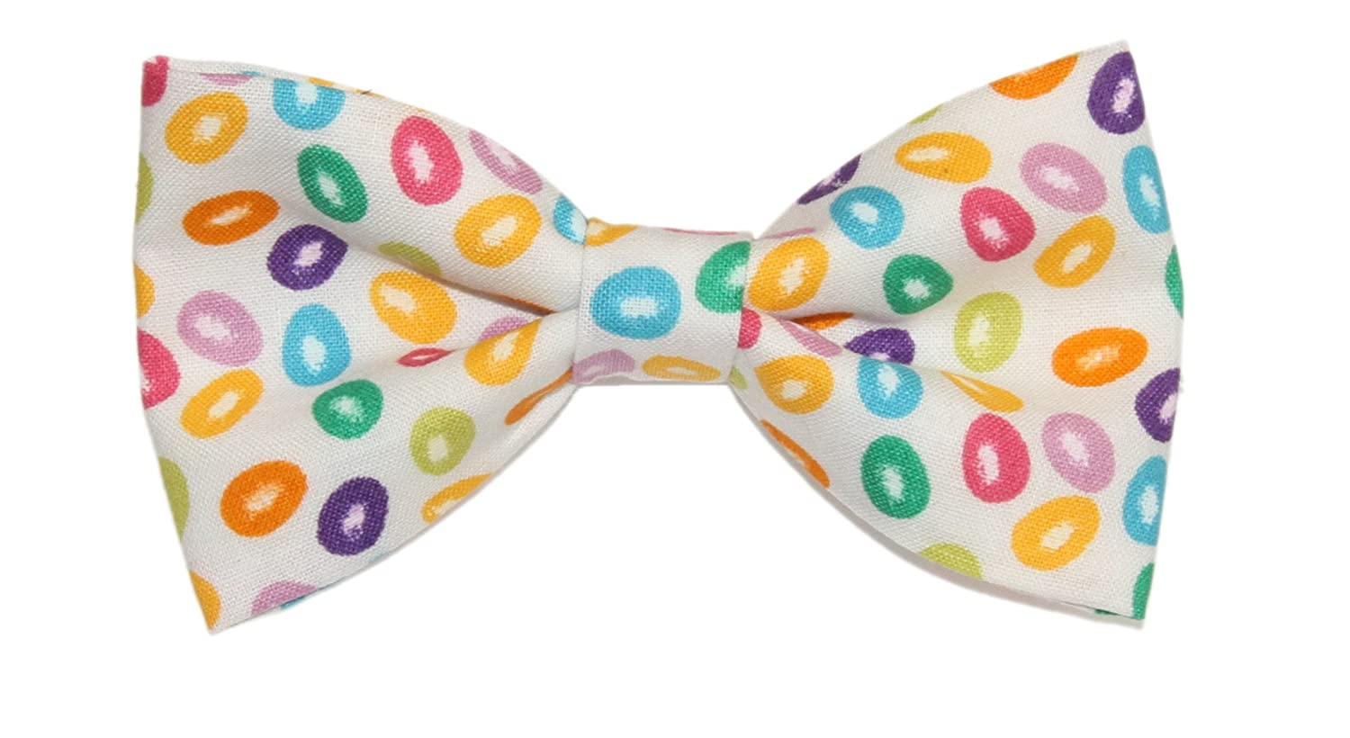 Mens Jelly Beans on White Background Pre-Tied Cotton Bow Tie On Adjustable Twill Strap