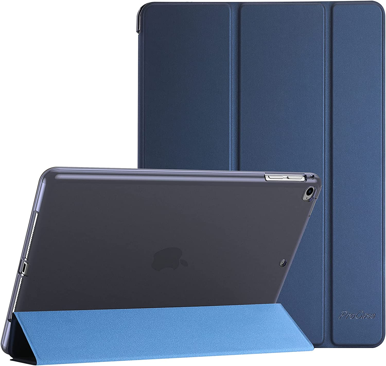ProCase iPad 9.7 Case (2018/2017 Model, 6th/5th Generation), iPad Air 2, iPad Air Case, Slim Soft TPU Translucent Back Cover Trifold Stand Folio Smart Case for iPad 9.7 Inch, iPad Air 2/ Air 1 -Navy