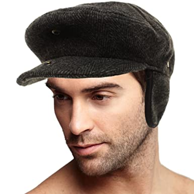 8187ce240 SK Hat shop Men's Winter 100% Soft Wool Earflaps Tweed IVY Driver ...