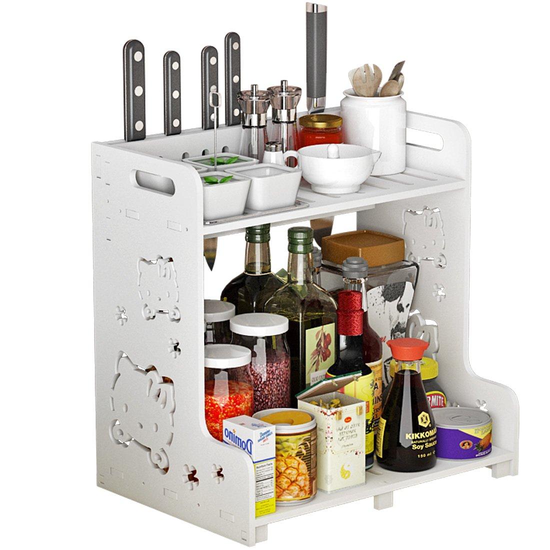 Kitchen Storage Rack, Komost 2-Tier Multi-functional Countertop Organizer Shelf, Kitchen Spice Rack