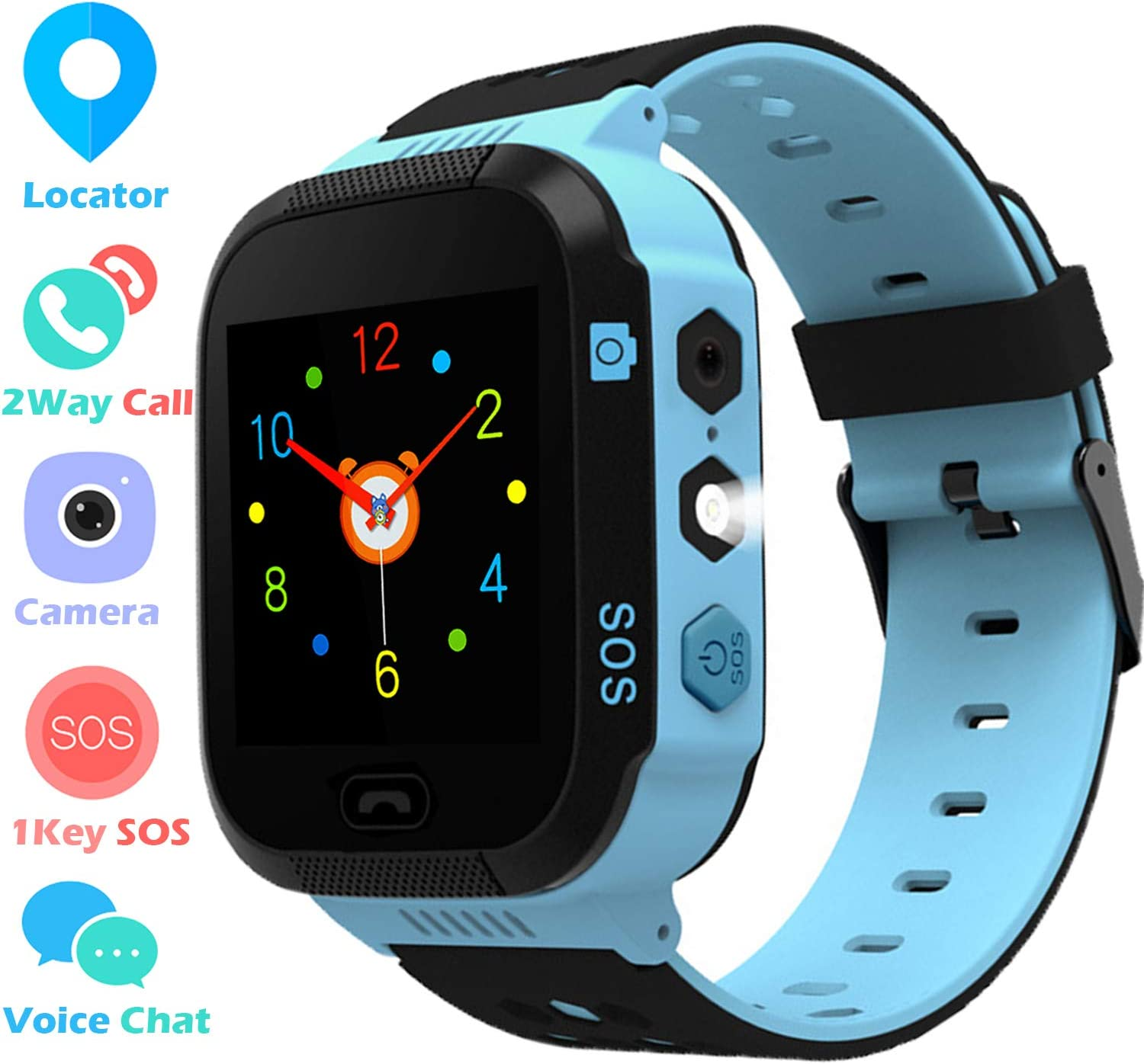 Kids Smart Watch Phone with Position Tracker - Boys Girls Smartwatch with LBS Locator 2 Way Calls Camera Voice Chat SOS Alarm Clock Anti Lost ...