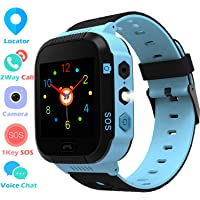 Kids Smart Watch GPS Tracker Phone Watch for Boys Girls with Touchscreen Camera 2 Way Call Voice Chat SOS Alarm Clock Anti Lost Flashlight Game Sports Outdoor Smartwatch Bracelet Cellphone Wrist Watch