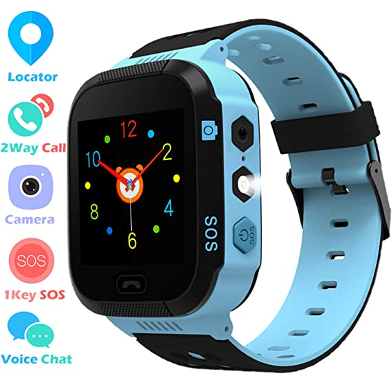 Kids Smart Watch GPS Tracker Phone Watch for Boys Girls with Touchscreen Camera 2 Way Call Voice Chat SOS Alarm Clock Anti Lost Flashlight Game Sports ...