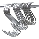 Neele Premium 15-Pack Round S Shaped Hooks S Hanging Hooks Hangers in Polished Stainless Steel Metal for Kitchen, Bedroom and Office(S+M+L, 15PCS)