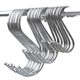 15 Pcs Round S Shaped Hooks S Hanging Hooks Hangers in Polished Stainless Steel Metal for Kitchen, Bedroom and Office