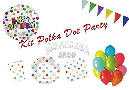 Partylandia Kit de Fiesta de cumpleaños Polka Dot para 16 ...