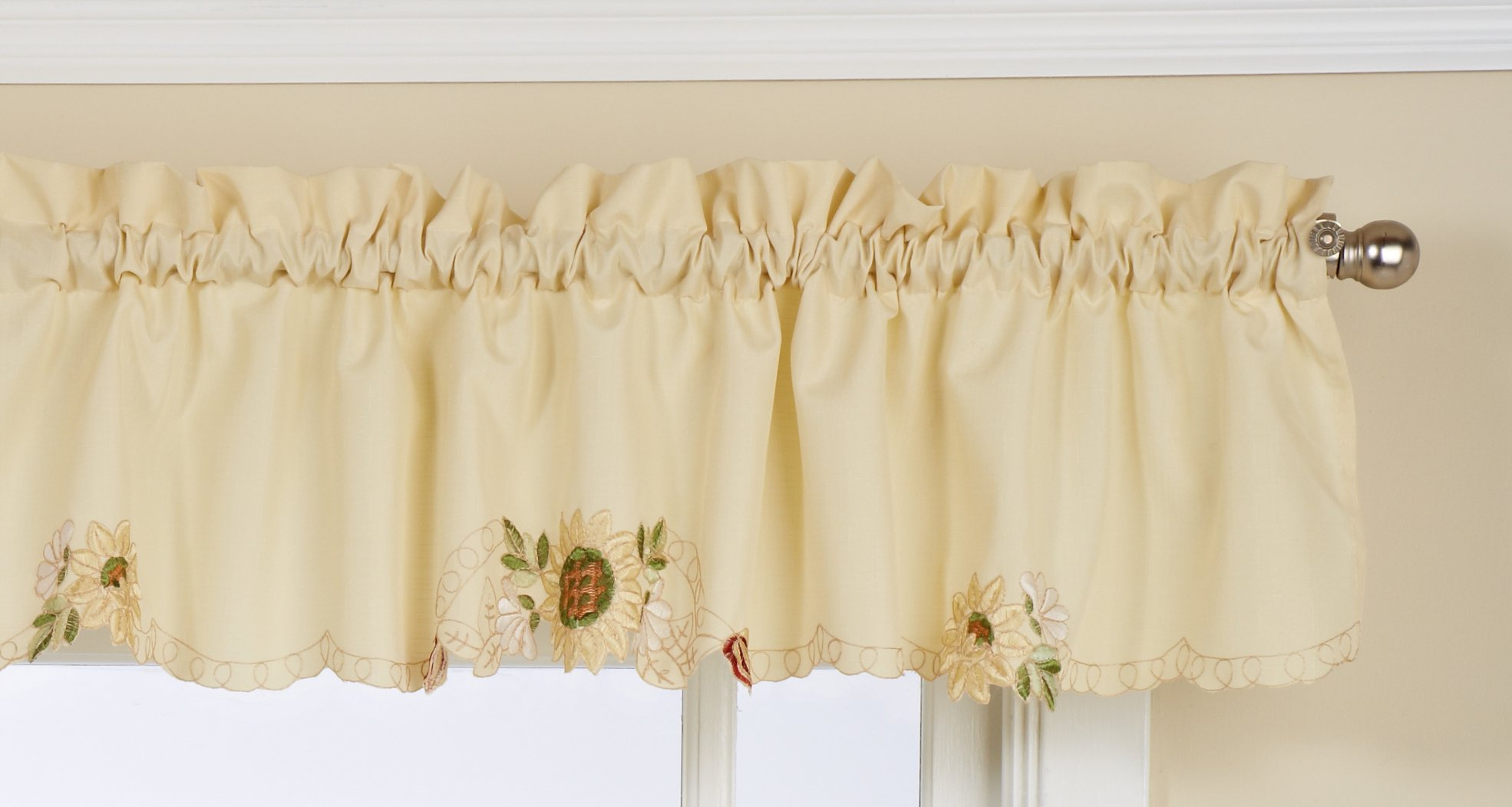 LORRAINE HOME FASHIONS Sunflower Tailored Valance, 60 by 12-Inch, Multi-Color - Measures 60 x 12-inch Fabric Content: 100% Polyester Machine wash, warm water, gentle cycle; Do not bleach; Line dry; Warm iron if necessary - living-room-soft-furnishings, living-room, draperies-curtains-shades - 71UyesEQqxL -