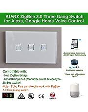 Smart ZigBee 3 Gang AU/NZ Standard Light Switch for Wireless Home Automation Google Home Amazon Echo Dot Echo Plus Alexa Voice Lighting Control