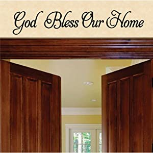"Jeyfel Decals: Wall Decals. God Bless Our Home Wall Sticker. DIY Home Decor. (27"" w X 5"" H)"